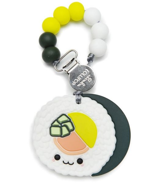 Loulou Lollipop Silicone Teether with Clip - Sushi Roll