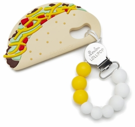 Loulou Lollipop Silicone Teether with Clip - Taco