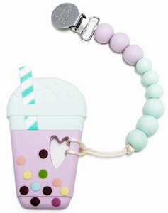 Loulou Lollipop Silicone Teether with Clip - Taro Milk Tea - Lilac/Mint