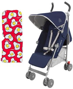 Maclaren 2016/2017 Quest Stroller - Medieval Blue/Silver (+ Seat Liner in Fried Eggs)