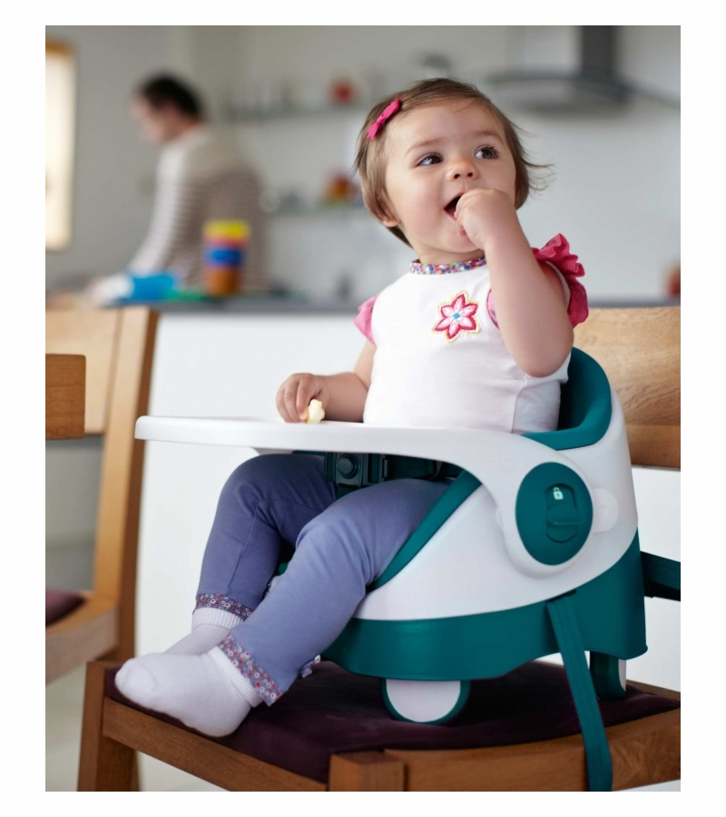 Teal. Mama And Papas Baby Bud Booster Seat With Detachable Tray Baby
