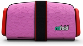 Mifold Grab-and-Go Backless Belt Positioning Booster Car Seat - Perfect Pink