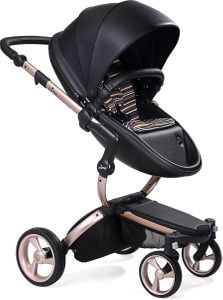Mima 2019 Xari Complete Stroller, Rose Gold - Black / Autumn Stripes