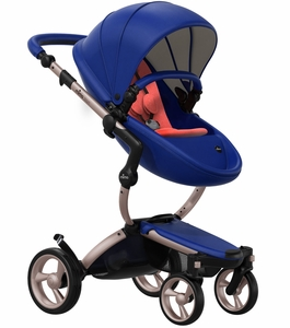 Mima 2019 Xari Complete Stroller, Rose Gold - Royal Blue / Coral Red