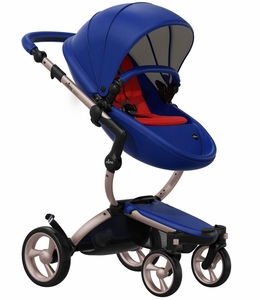 Mima 2019 Xari Complete Stroller, Rose Gold - Royal Blue / Ruby Red