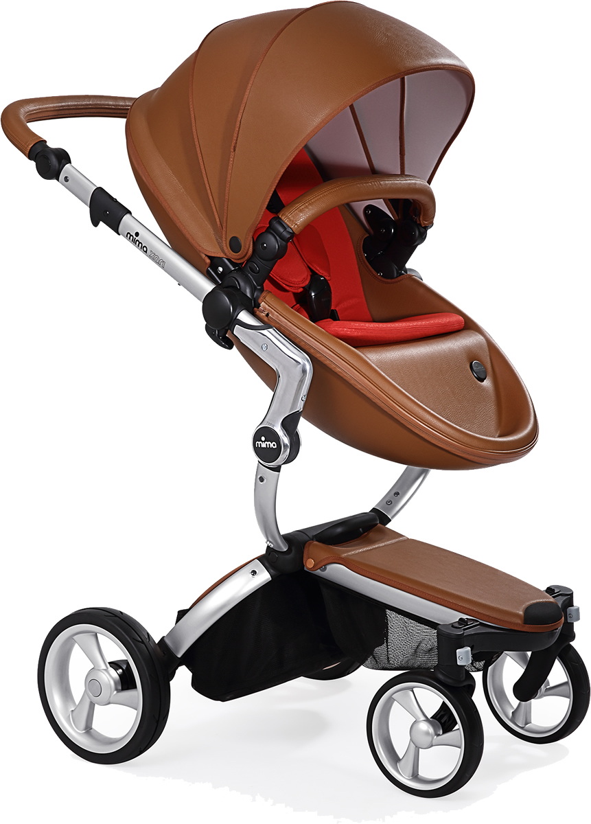 Mima Xari Complete Stroller, Silver - Camel / Red