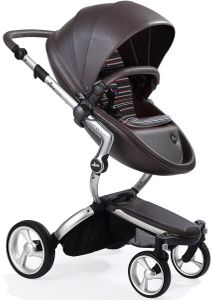 Mima Xari Complete Stroller, Silver - Chocolate Brown / Autumn Stripes