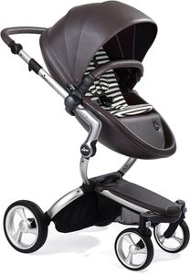 Mima Xari Complete Stroller, Silver - Chocolate Brown / Black & White