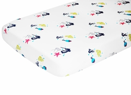 Nursery Works Oceanography Organic Cotton Percale Sheet - Sea Animals