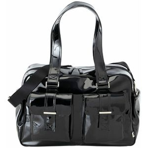 OiOi Black Patent with Zebra Carry All Diaper Bag