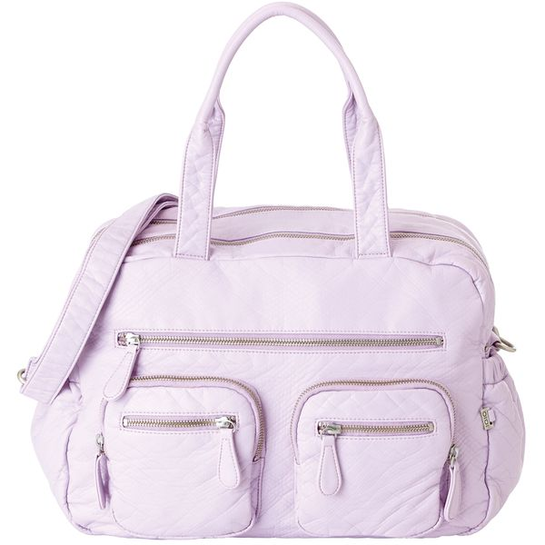 OiOi Faux Lizard Carryall Diaper Bag in Lilac Orchard