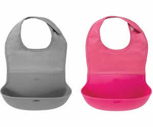 OXO Tot Roll Up Bib, 2-pack - Gray & Pink