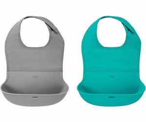 OXO Tot Roll Up Bib, 2-pack - Gray & Teal