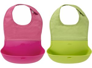 OXO Tot Roll-Up Bib, 2-Pack - Pink/Green