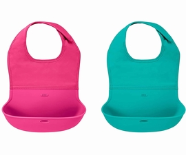 OXO Tot Roll Up Bib, 2-pack - Pink & Teal