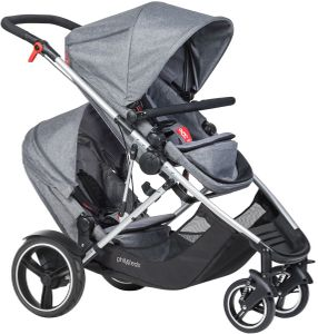 Phil & Teds Voyager Double Stroller - Charcoal Marl