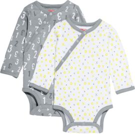 Skip Hop ABC-123 Long Sleeve Bodysuit Set, 2-Pack - Grey (6 Months)
