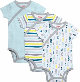 Skip Hop ABC-123 Short Sleeve Bodysuit Set, 3-Pack - Blue (Newborn)