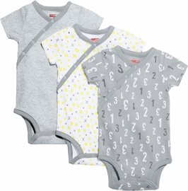 Skip Hop ABC-123 Short Sleeve Bodysuit Set, 3-Pack - Grey (6 Months)