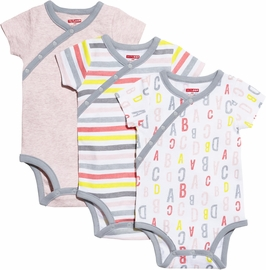 Skip Hop ABC-123 Short Sleeve Bodysuit Set, 3-Pack - Pink (3 Months)
