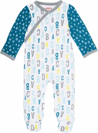 Skip Hop ABC-123 Side Snap Footie - Blue (Newborn)