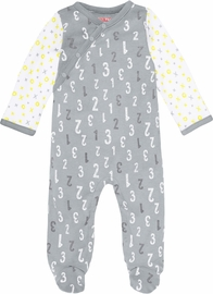Skip Hop ABC-123 Side Snap Footie - Grey (Newborn)