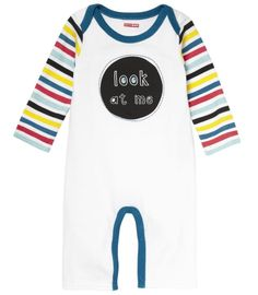 Skip Hop Baby Says Long Sleeve Romper, Look at Me - Stripes (6 Months)