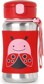 Skip Hop Zoo Stainless Steel Straw Bottle - Ladybug