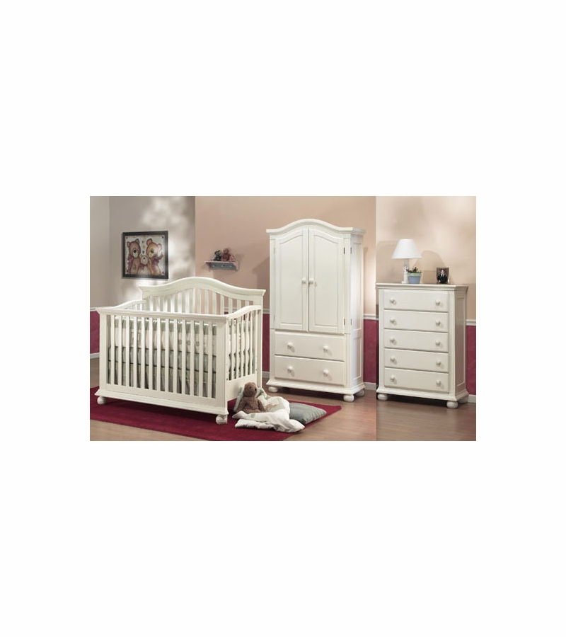 Sorelle Vista 3 Piece Nursery Set In French White Crib 5 Drawer