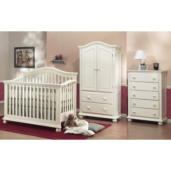Sorelle Vista 3 Piece Nursery Set in French White - Crib, 5 Drawer Dresser & Armoire
