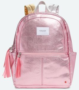 State Bags Kane Backpack Diaper Bag - Pink Metallic