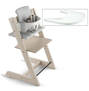 Tripp Trapp High Chair and Cushion with Stokke Tray - Whitewash/Cloud Sprinkle