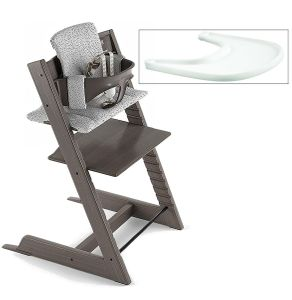 Tripp Trapp High Chair and Cushion with Stokke Tray- Hazy Grey/Cloud Sprinkle