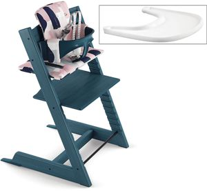 Tripp Trapp High Chair and Cushion with Stokke Tray- Midnight Blue