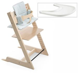 Stokke Tripp Trapp Complete High Chair - Natural/Aqua Stripe (AlbeeBaby Exclusive)