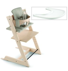 Tripp Trapp High Chair and Cushion with Stokke Tray - Natural/Timeless Grey