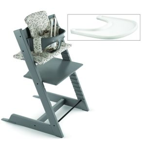 Tripp Trapp High Chair and Cushion with Stokke Tray - Storm Grey/Garden Bunny