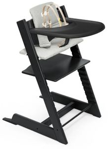 Tripp Trapp High Chair and Cushion with Stokke Tray - Black/Nordic Grey
