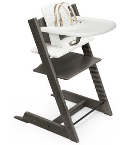 Tripp Trapp High Chair and Cushion with Stokke Tray- Hazy Grey / Icon Multicolor