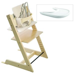 Tripp Trapp High Chair and Cushion with Stokke Tray- Natural/Beige Stripe