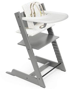 Tripp Trapp High Chair and Cushion with Stokke Tray - Storm Grey / Sweet Hearts