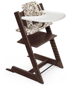 Tripp Trapp High Chair and Cushion with Stokke Tray - Walnut / Honeycomb Calm