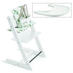 Tripp Trapp High Chair and Cushion with Stokke Tray - White/Green Forest