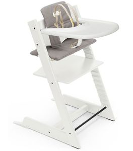 Tripp Trapp High Chair and Cushion with Stokke Tray - White / Icon Grey