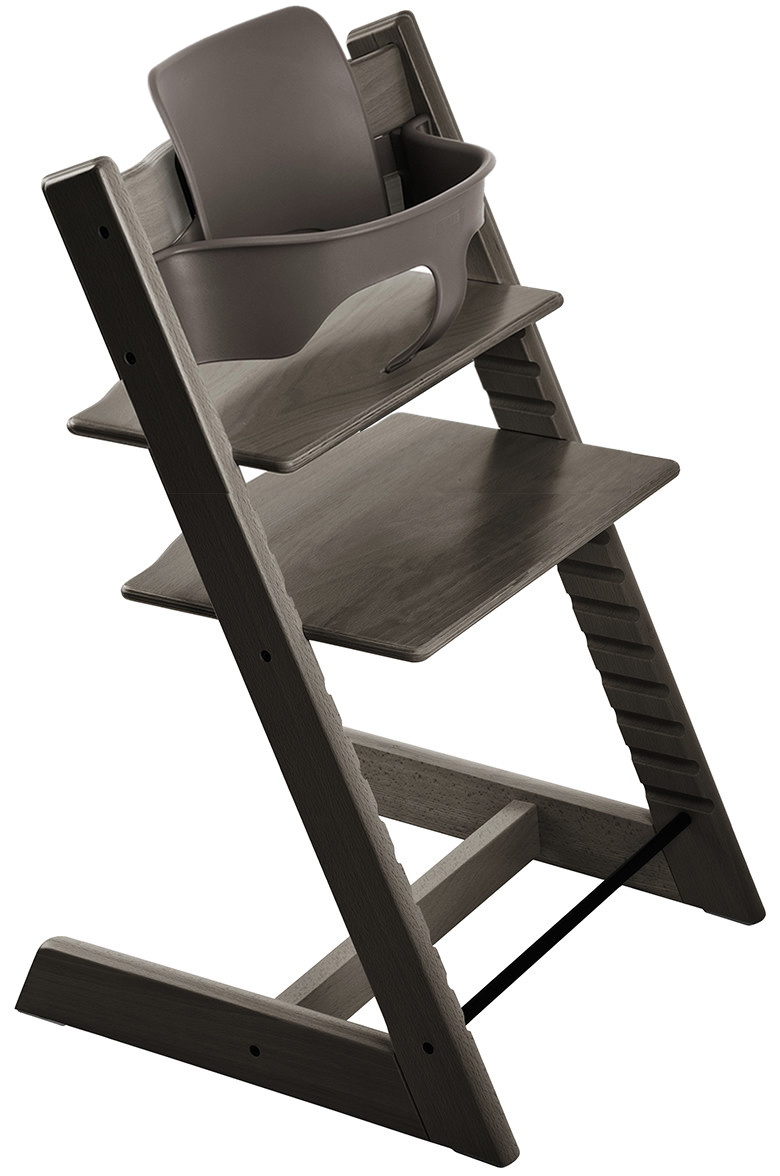 stokke tripp trapp high chair baby set hazy grey. Black Bedroom Furniture Sets. Home Design Ideas