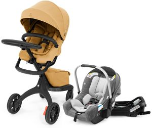 Stokke Xplory X + Stokke Pipa Travel System Bundle - Golden Yellow / Black Melange