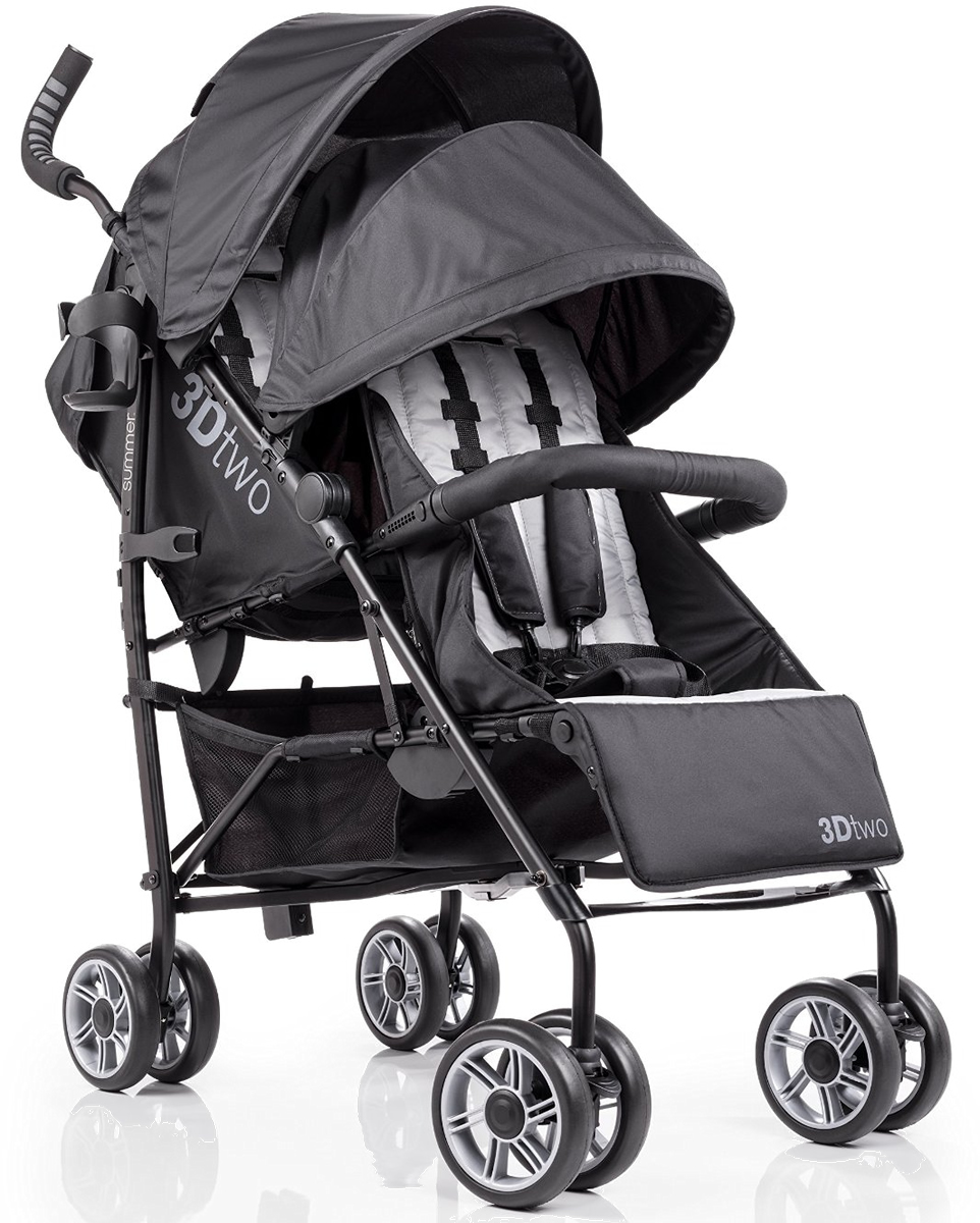 Summer Infant 3dtwo Double Stroller Black Gray