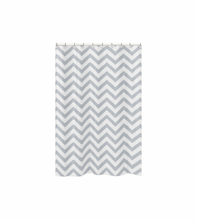 Sweet JoJo Designs Gray White Chevron Shower Curtain