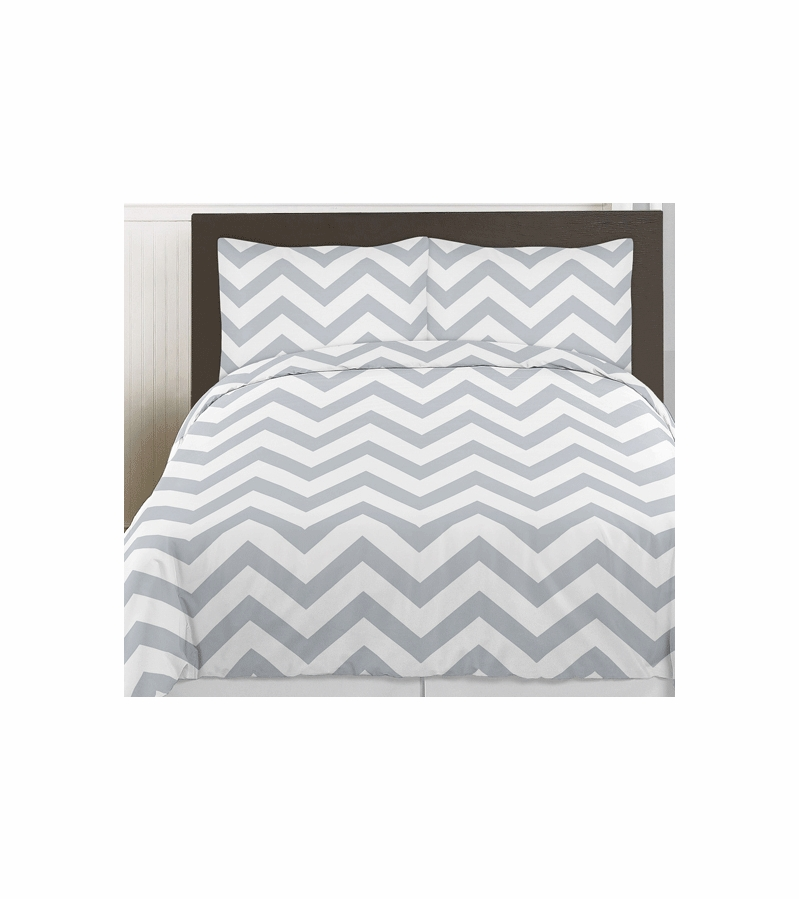 Sweet Jojo Designs Gray White Chevron Twin Bedding Set