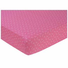 Sweet JoJo Designs Owl Pink Crib Sheet in Tonal Mini Leaf Print